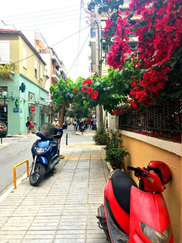 chania city streets and flowers