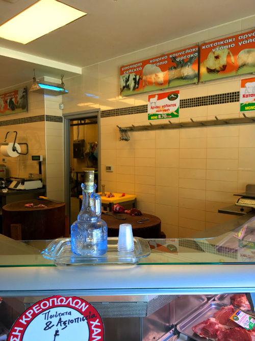 chania meat shop with raki