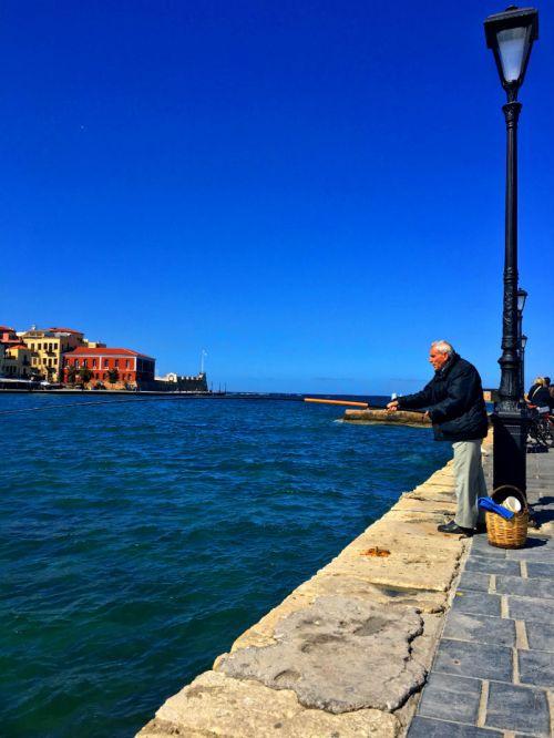fishing man in chania