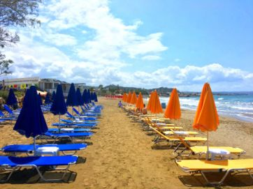 platanias colorful beach lounge chairs