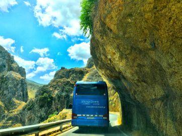 tour bus going to elafonisi