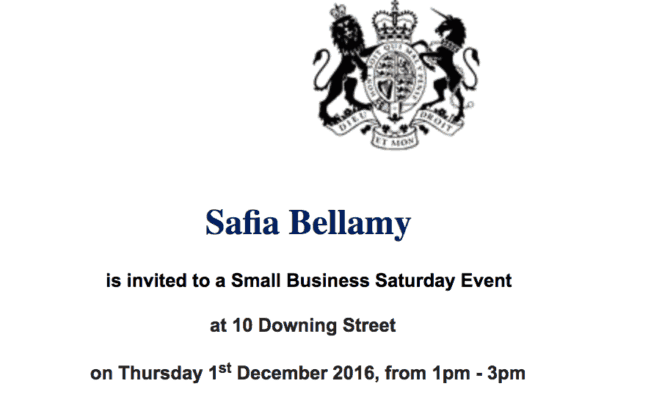 No. 10 Downing Street invitation for Pure Punjabi Small Business saturday SmallBiz100