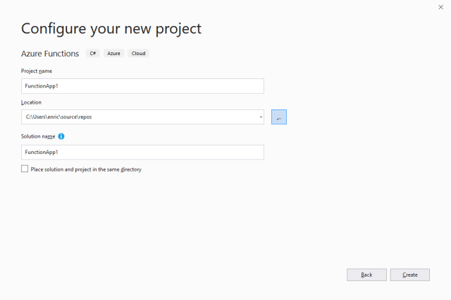 Visual Studio 2019: configure your new project