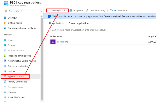 Register a new application in Active Directory