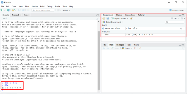 RStudio - Create an object and environment pane