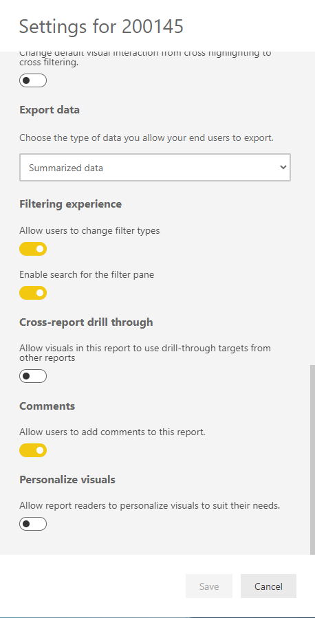 PowerBI portal - Setting for a report - Filtering experience