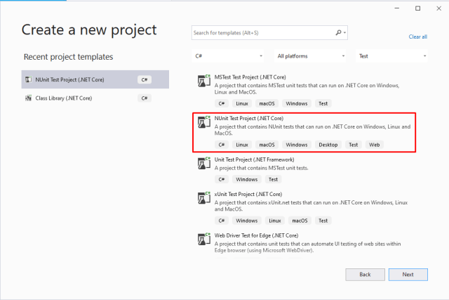Create a NUnit project with Visual Studio 2019