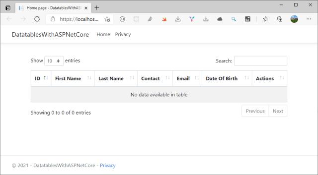 Datatables.net first run in ASP.NET Core application - Datatables in ASP.NET Core Server-Side