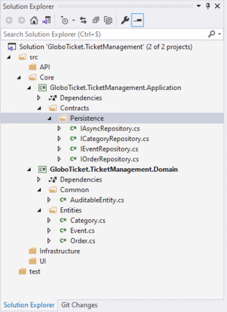 Folder structure of the solution - Setting up the application ASP.NET Core