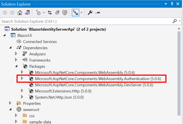 Dependencies part in the Solution Explorer - Secure Blazor WebAssembly with IdentityServer4