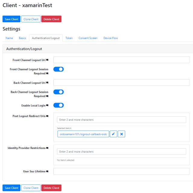 Authentication/Logout configuration