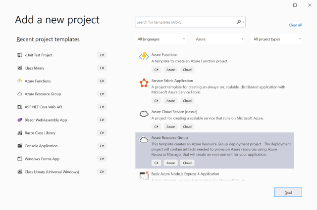 Add a new project for Azure Resource Group