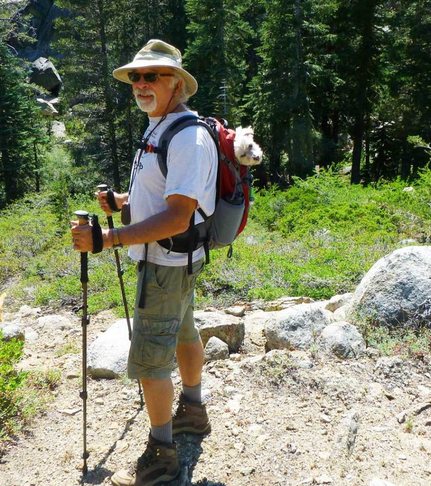 Geoff Panek and Biggs hiking