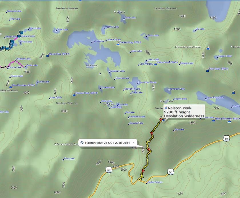 Topo Map of Ralston Peak trail we took
