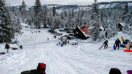sledding at Cisco Grove