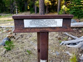 Trails West marker designating the Heness Pass portion of the Immigrant Trail.