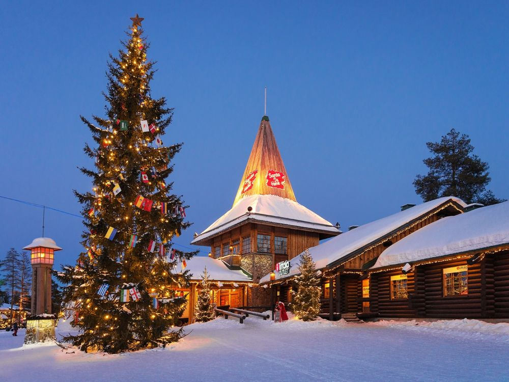 Santa Claus Village Lapland illuminated at night
