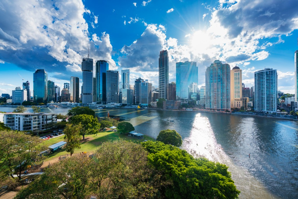 View of Brisbane city skyline and Brisbane river in late afternoon