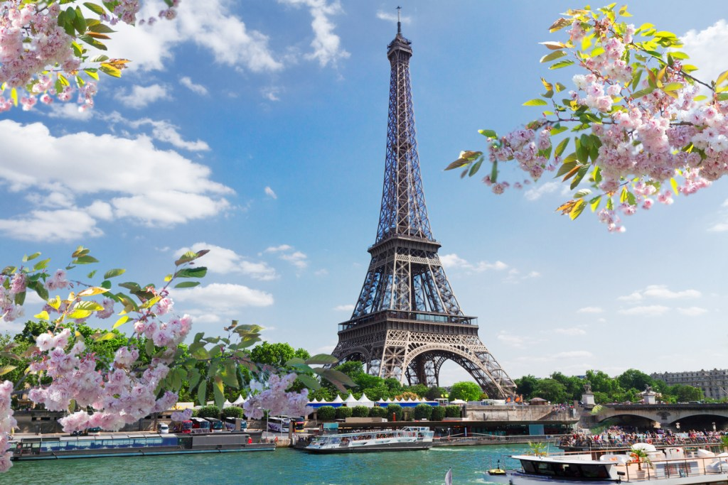 Eiffel Tower over Seine river on a spring day, Paris, France