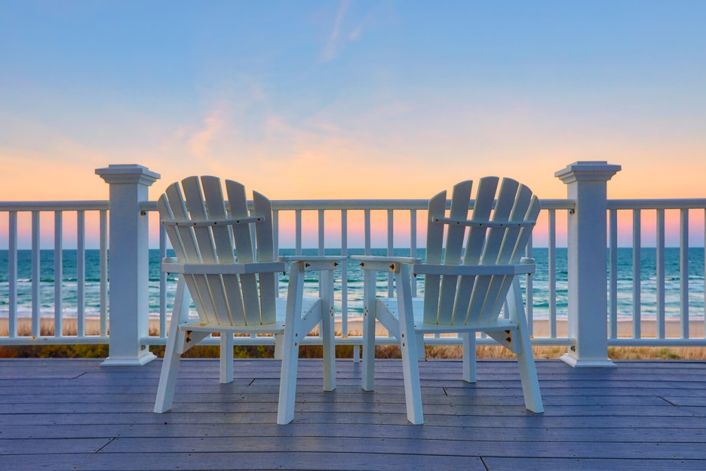 Enjoy the view of the ocean from a chair while on vacation at the Outer Banks in North Carolina