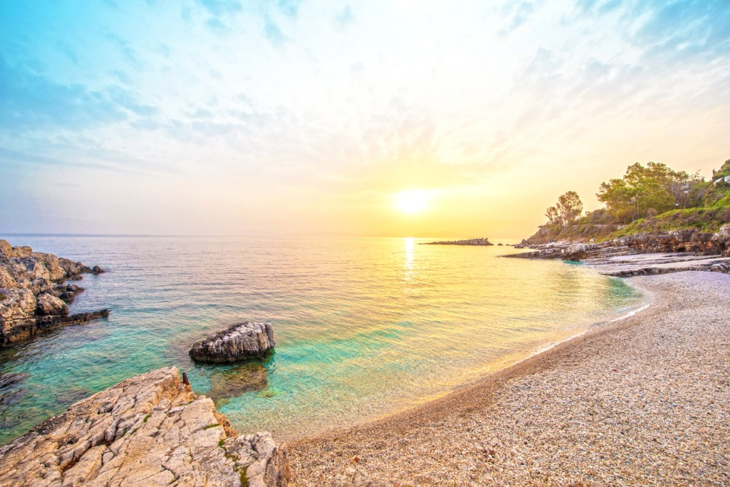 Fabulous beautiful magic landscape with stone at dawn on Bataria Beach on the coast of the Ionian Sea in Corfu