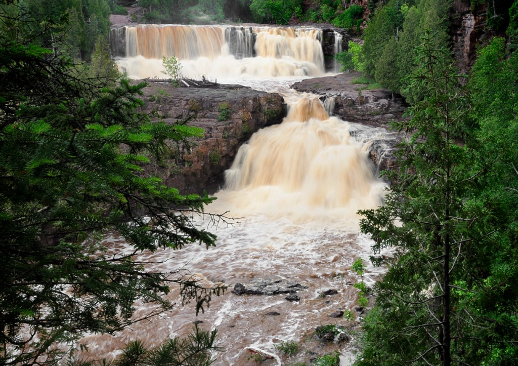 Gooseberry Falls Middle Falls and Lower Falls in full flow