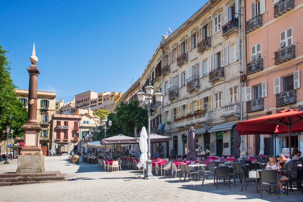 A view of the Piazza Yenne square, in Cagliari, Sardinia, Italy