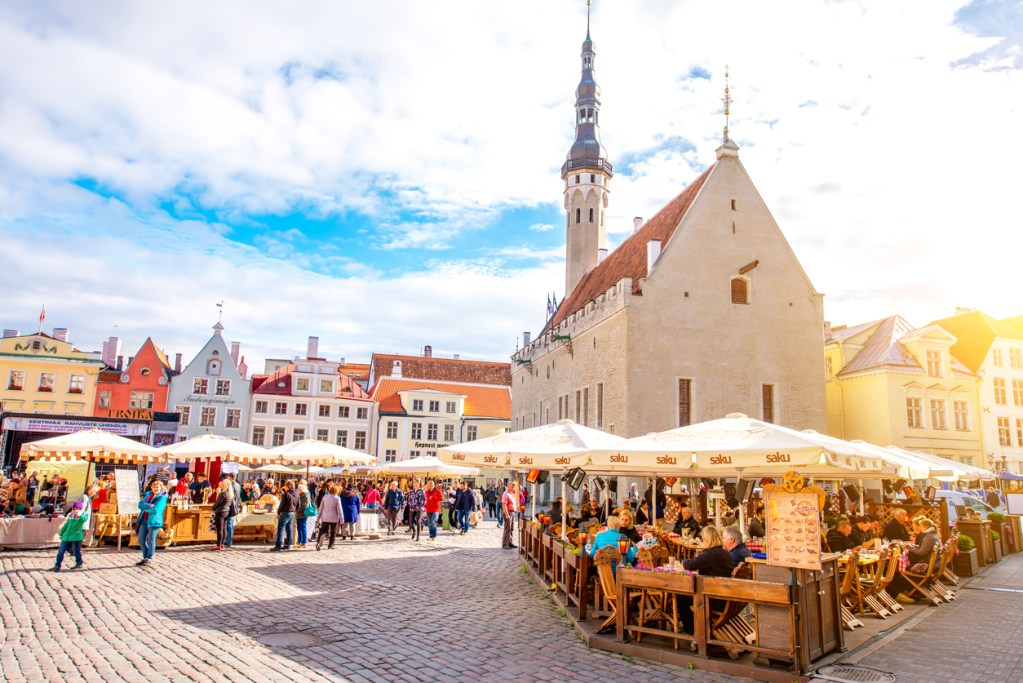View on the crowded open market on the town hall square in Tallinn, Estonia