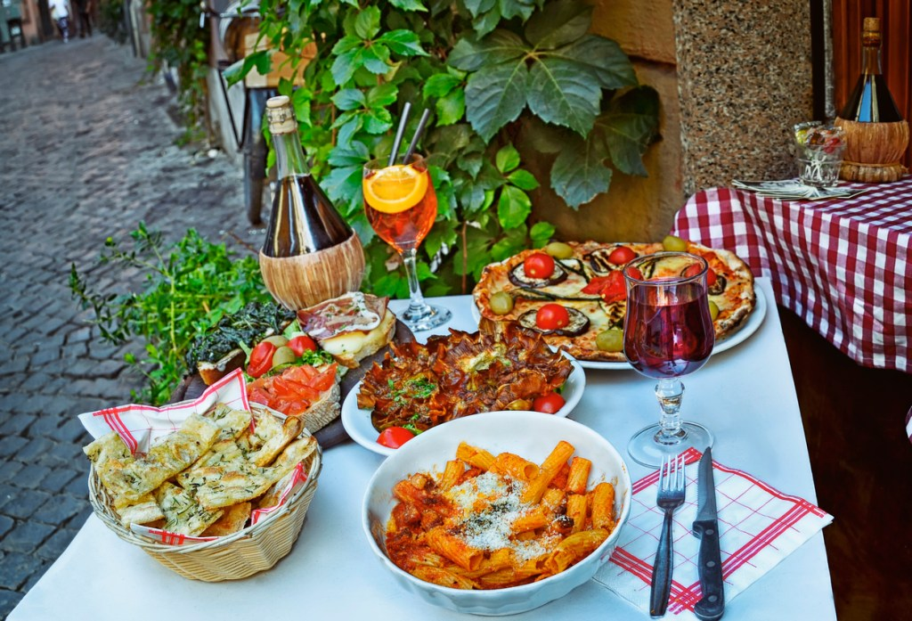 traditional italian food in outdoor restaurant