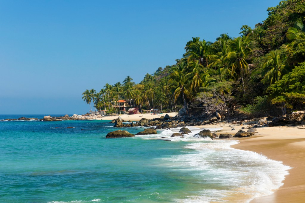 Tropical beach in Pizota near Puerto Vallarta, Mexico