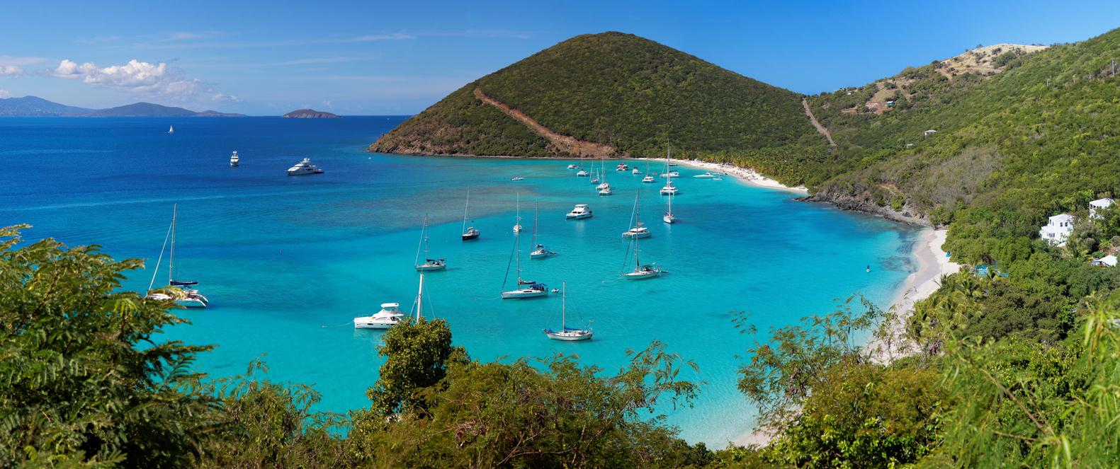 Panoramic view of tropical shoreline in British Virgin Island