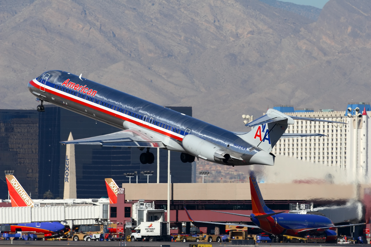 An American Airlines MD-80 departs Las Vagas - McCarran International Airport.