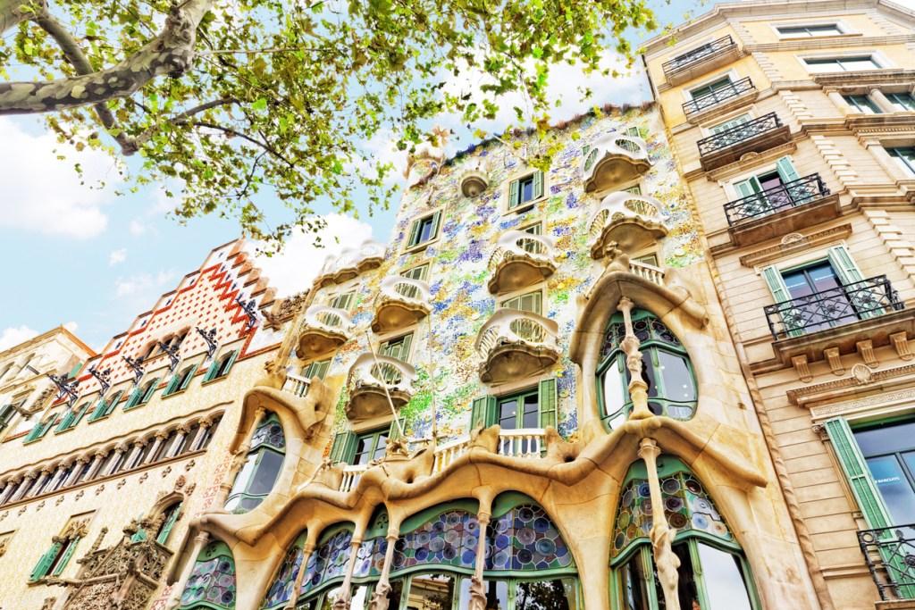 Outdoor view Gaudi's creation-house Casa Batlo.