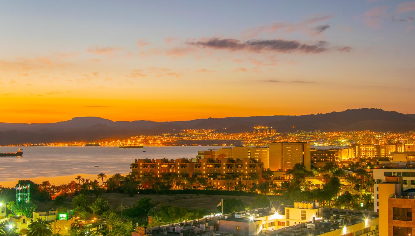 Sunset view of Aqaba gulf in Jordan