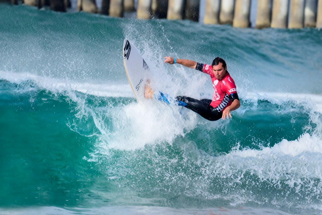 Tim Reyes competes in the Vans US open of surfing in Huntington Beach CA.