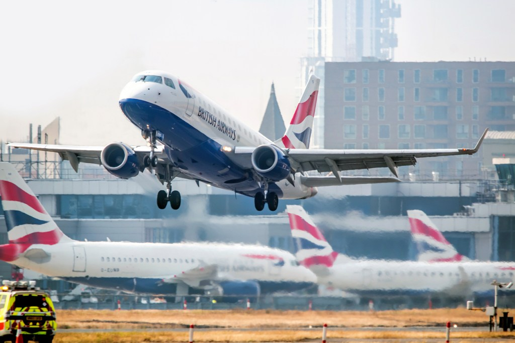 British Airways flight takes off from London City Airport