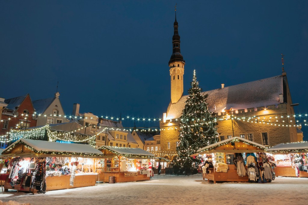 Christmas market at the town hall square in the Old Town of Tallinn, Estonia