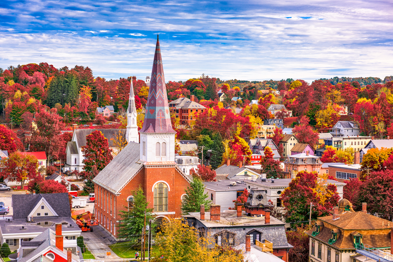 Montpelier, Vermont, town skyline in autumn.
