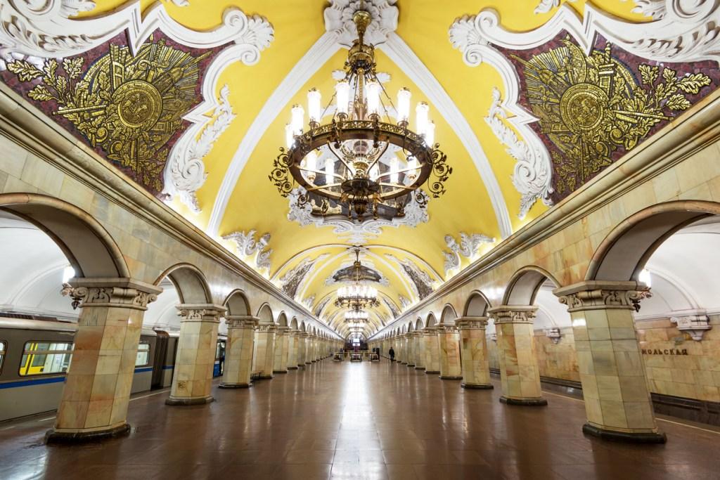 Metro station Komsomolskaya is a great monument of the Soviet era.