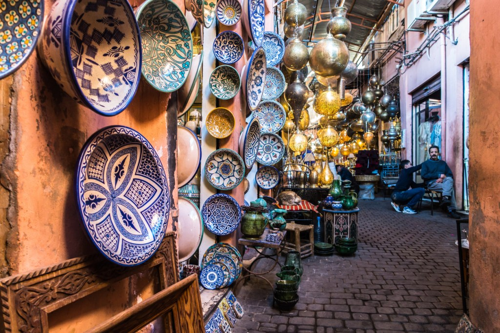 Typical shop with traditional Moroccan handicraft in the souk of Marrakech, Morocco