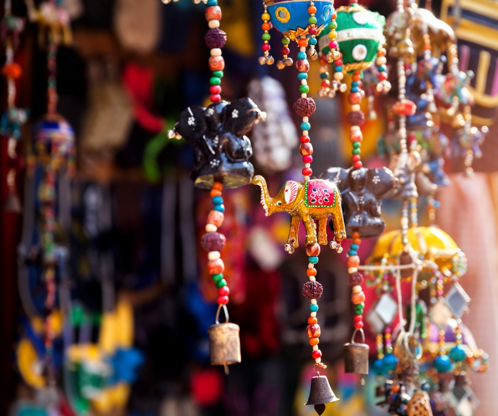 Elephant toys in the shop at local market in Goa