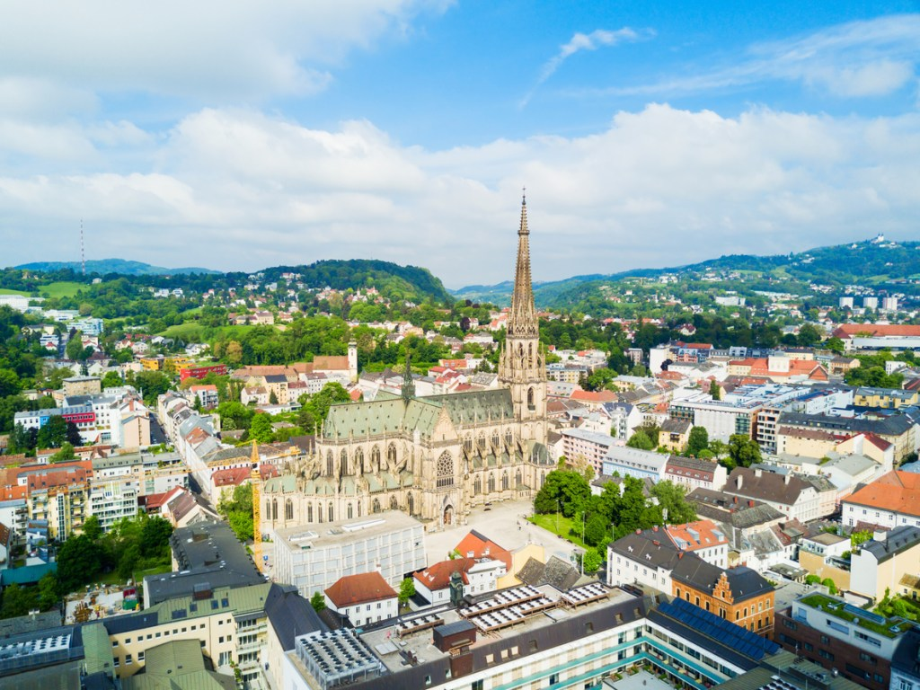 New Cathedral or Cathedral of the Immaculate Conception or St. Mary Church aerial panoramic view. It is a Roman Catholic cathedral located in Linz, Austria.