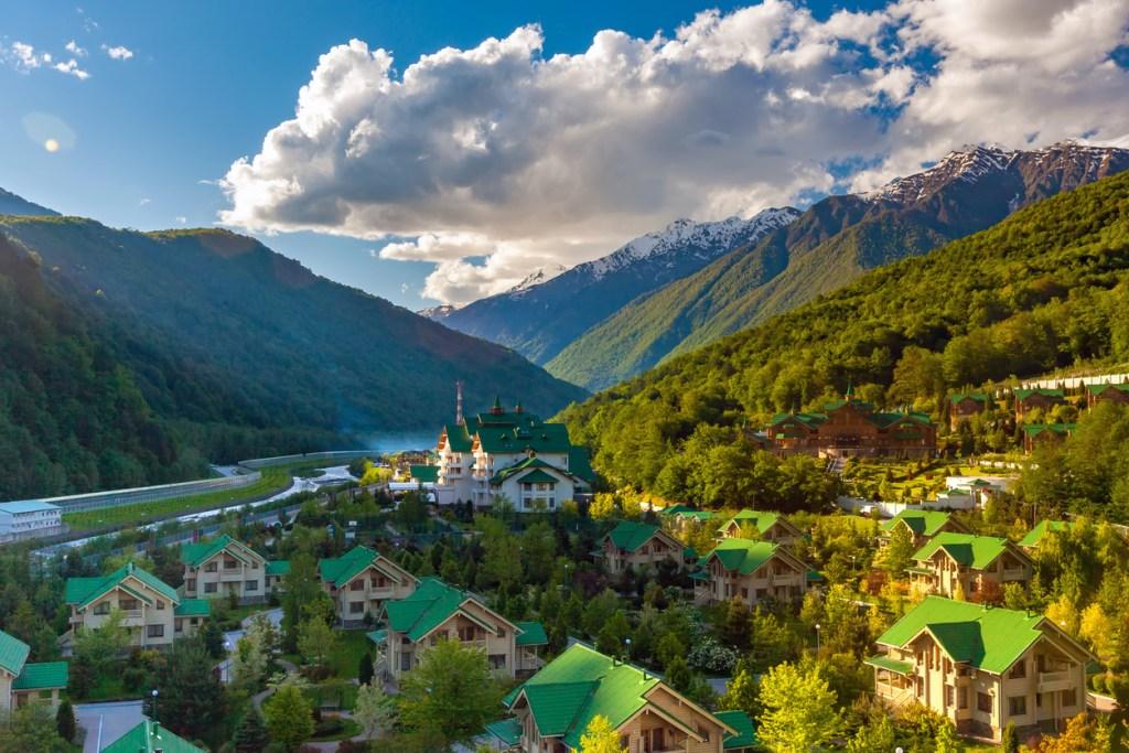 Ski Resort at Caucasus Mountains, Krasnaya Polyana, Sochi, Russia