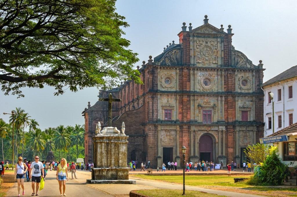 Basilica of Bom Jesus (Borea Jezuchi Bajilika) in Old Goa, India. The basilica is a UNESCO World Heritage Site.