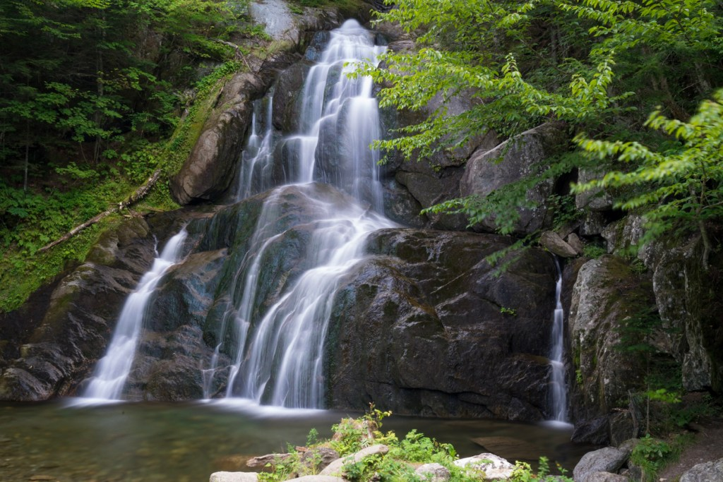 Cascading water over rocks in Vermont