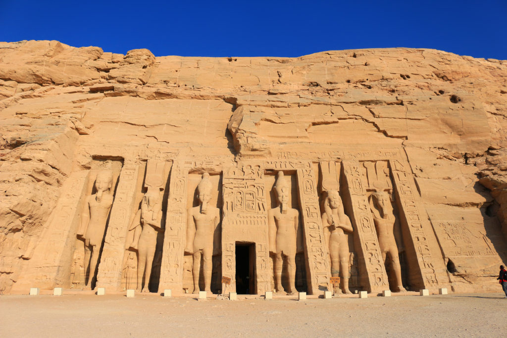 Colossal statues of King Ramses II at the Sun Temple, Abu Simbel in Egypt