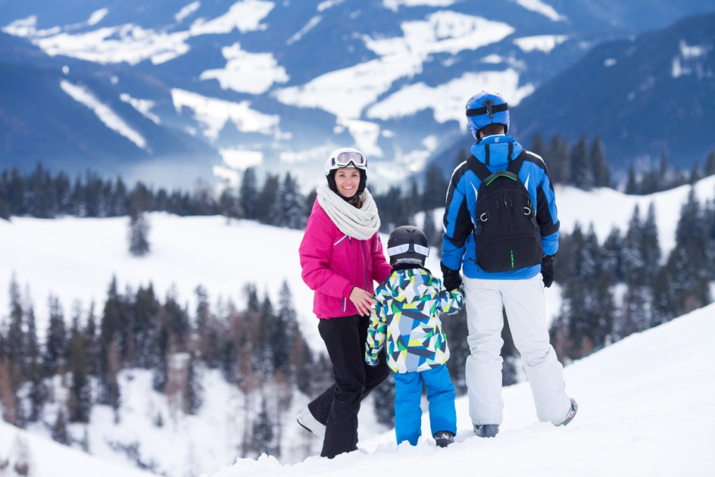 Family enjoying Skiing in Czech Republic