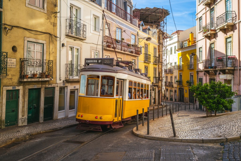 One of the many Trams in Lisbon.
