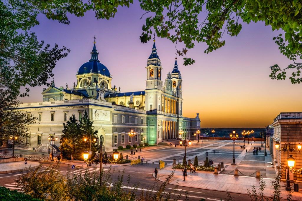 Madrid, Spain at La Almudena Cathedral and the Royal Palace