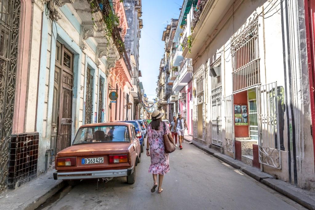 Walking through an old street of Havana in Cuba